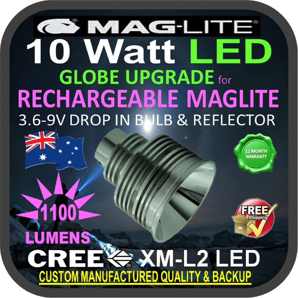 Maglite Led Upgrade Cree 10w Bulb Globe For Rechargeable