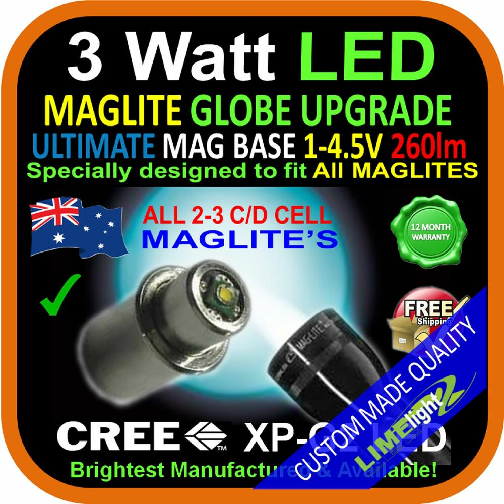 Maglite Led Upgrade 2 3 C D Cree 3w Bulb Globe For Torch