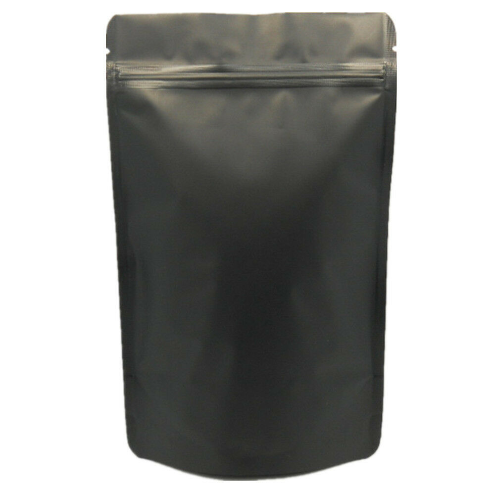 matte black pure aluminum foil stand up bag pouches zip lock food grade package ebay. Black Bedroom Furniture Sets. Home Design Ideas