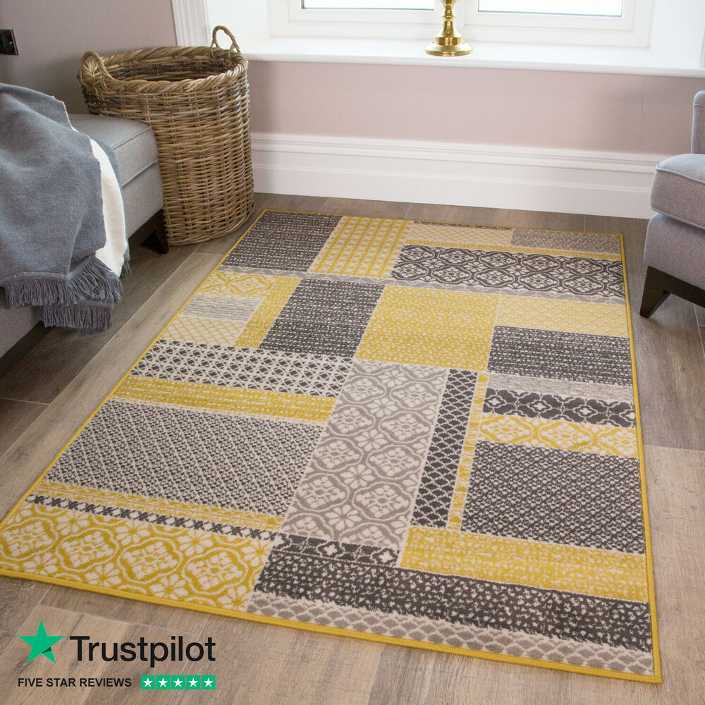 Details About Yellow Ochre Contemporary Patchwork Rug Moroccan Trellis Pattern Living Room
