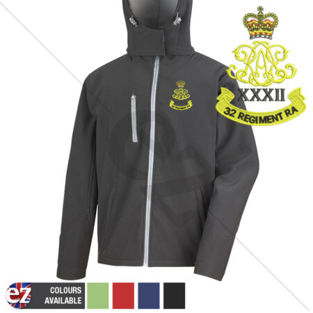 img-32nd Regiment Royal Artillery - Hooded Softshell Jacket - Personalisation