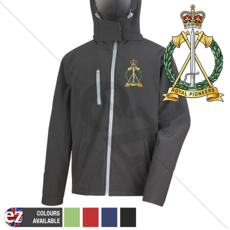 img-Royal Pioneers Corps - Hooded Softshell Jacket - Personalised text available