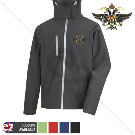 img-Queens Dragoon Guards Crest - Hooded Softshell Jacket - Personalisation