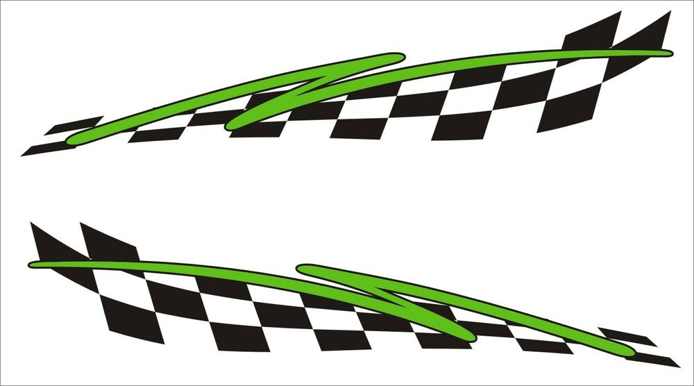 2x Flash Chequered Flag Vinyl Stickers Graphics Decals Car