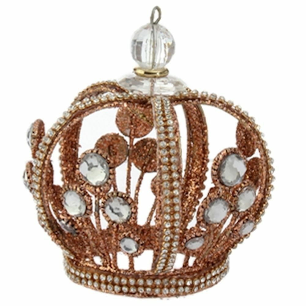 Royal Crown Jeweled Ornament Gold Christmas King Queen