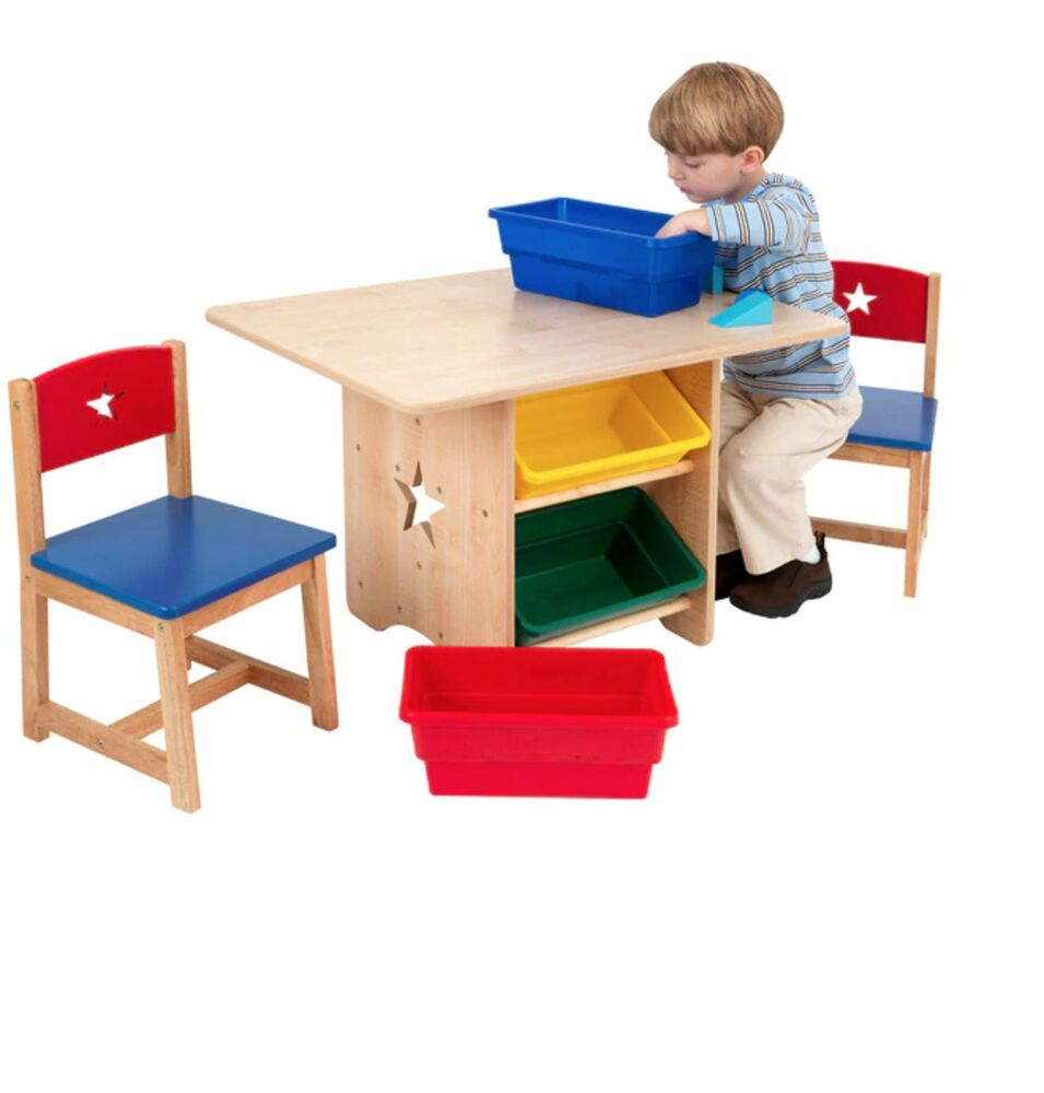 KidKraft Star Table And Chair Set Kids Activity Furniture Play Table With 4 B
