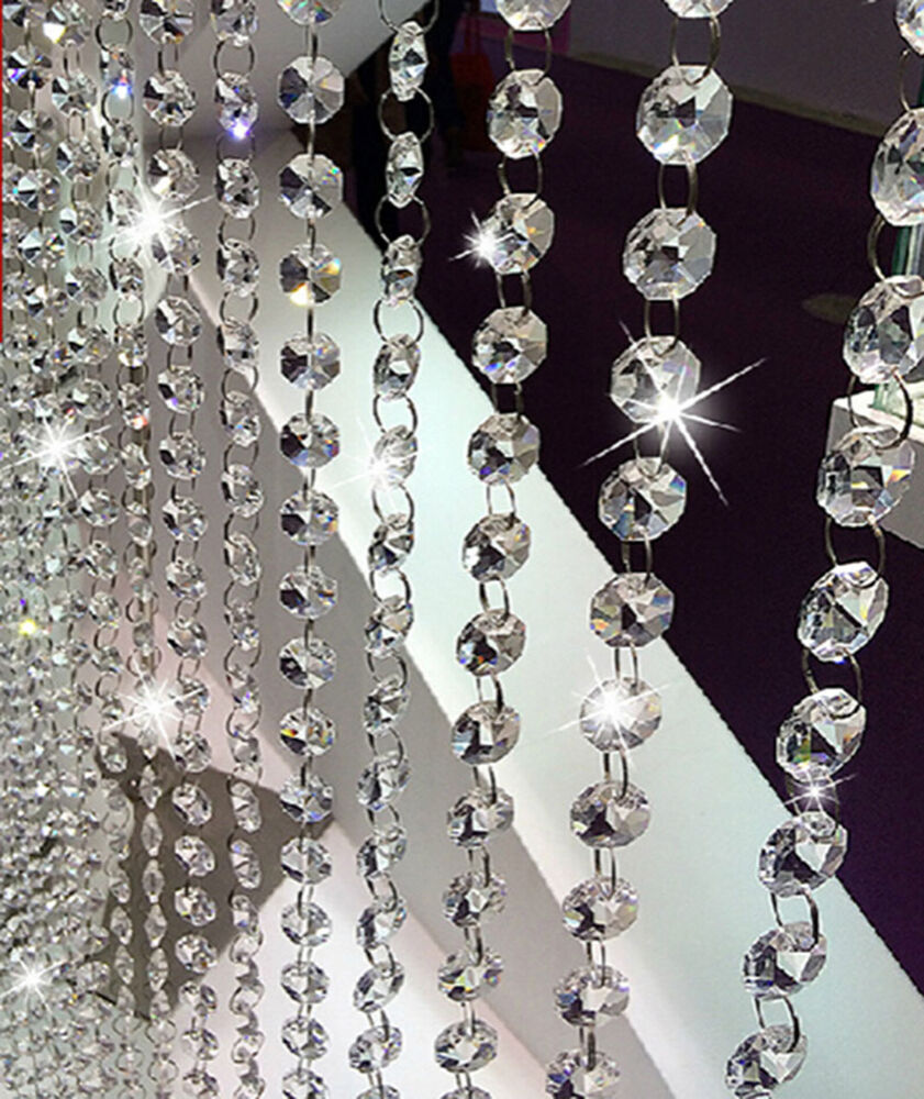 6 6ft 14mm crystal glass clear chandelier beaded chain wedding christmas garland ebay - Chandelier glass beads ...