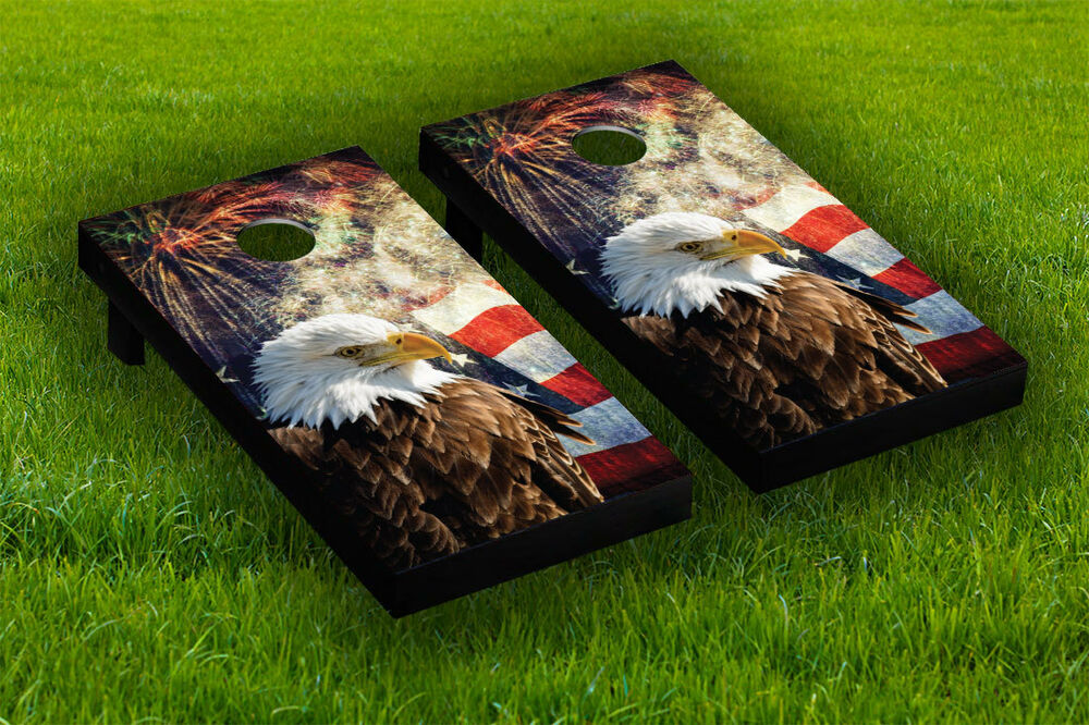 Patriotic American Flag Cornhole Board Wraps Laminated