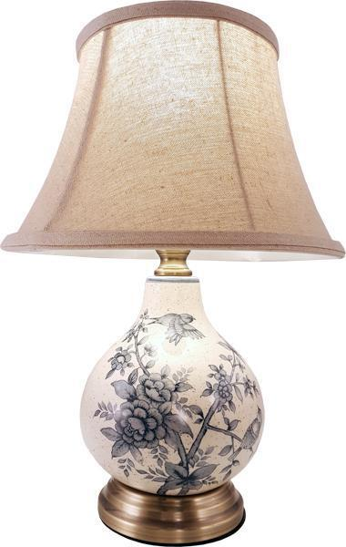 Gorgeous floral and birds ceramic cream blue bedside for Bedside table lamp shades