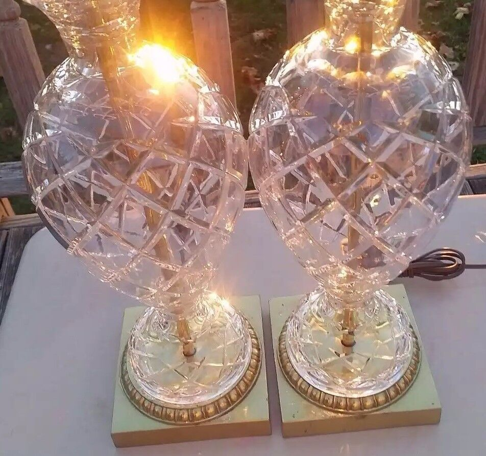 Pair Vintage Waterford Cut Crystal Glass Brass Table Lamps