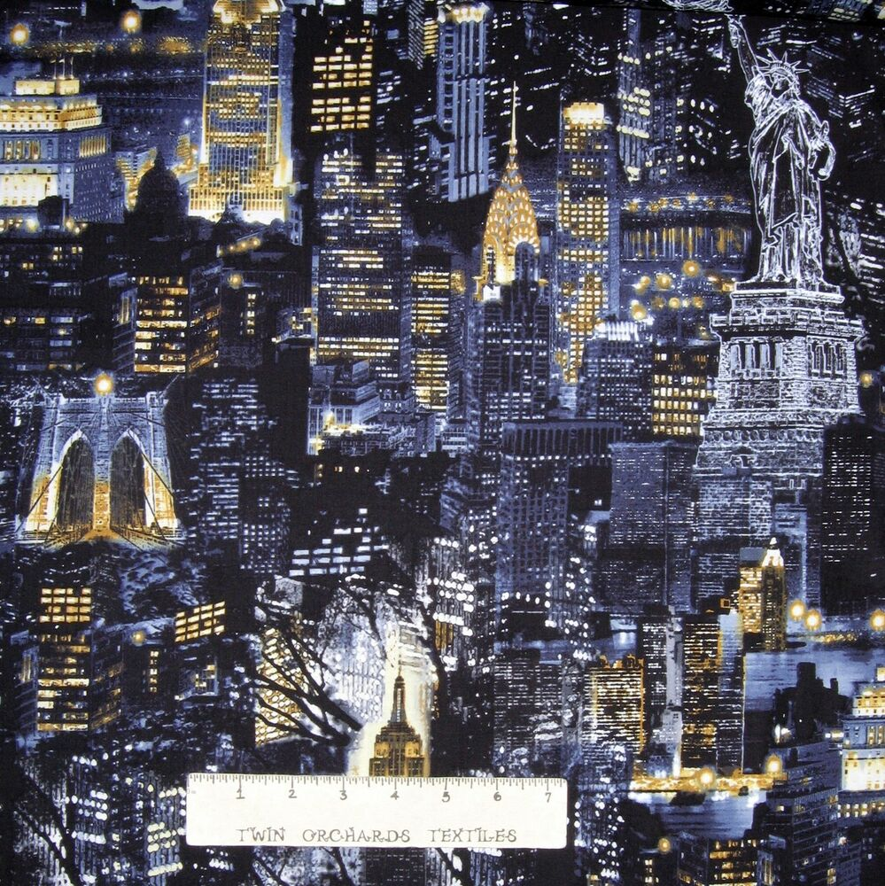 Cityscapes fabric new york city nighttime skyline for Art and craft stores nyc