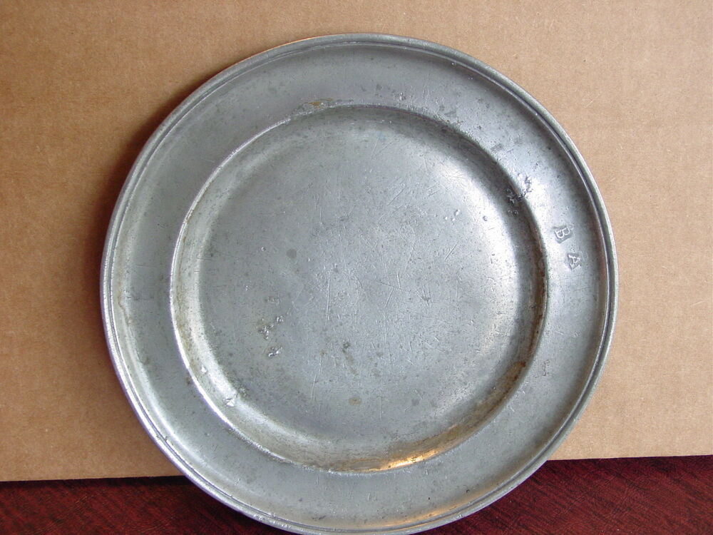 Antique Pewter Plates : Antique american th century pewter plate quot w makers