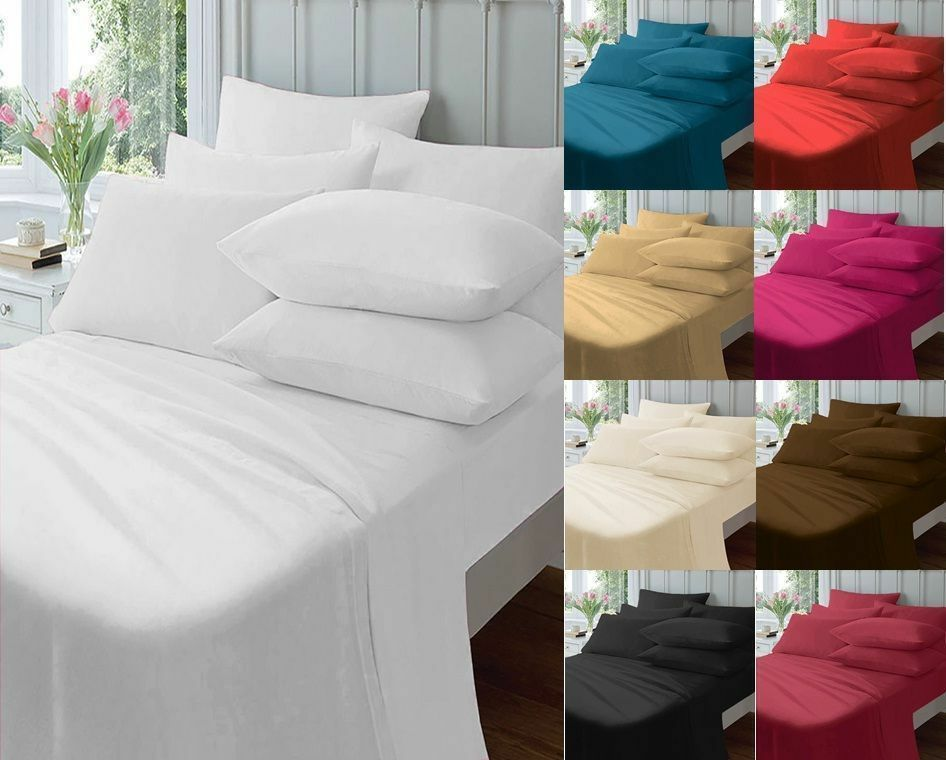 polycotton extra deep fitted flat valance bed sheet ebay. Black Bedroom Furniture Sets. Home Design Ideas