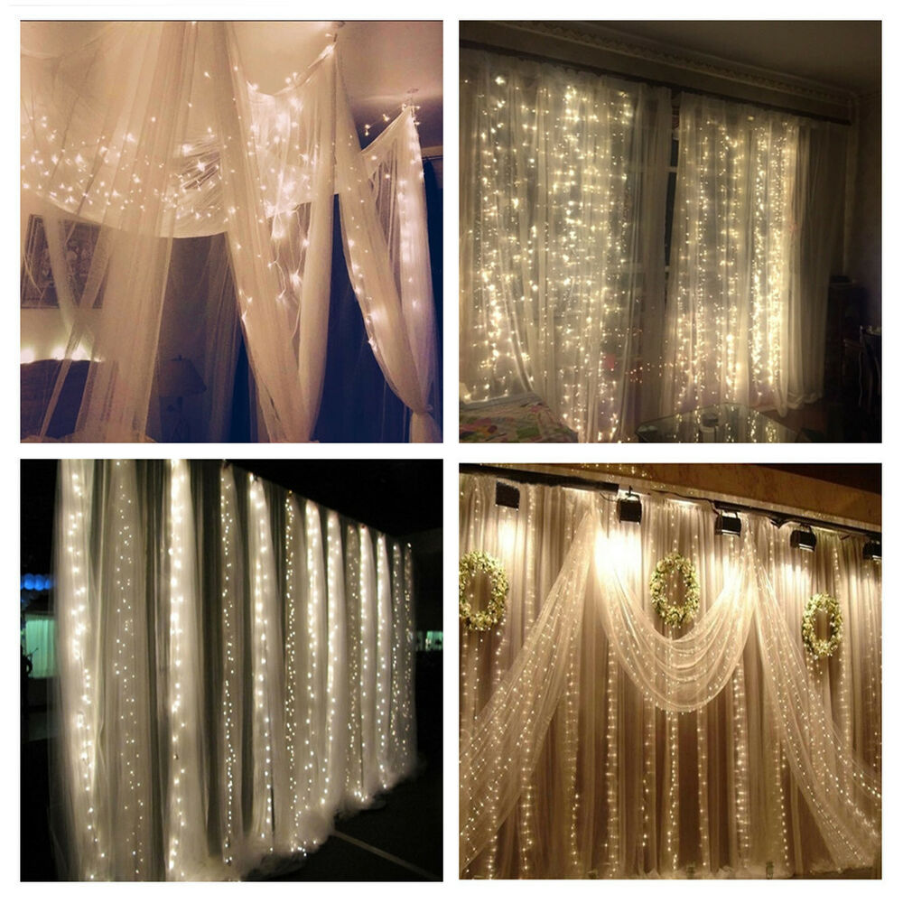 Curtain Wall Lighting : New leds christmas string fairy wedding curtain light