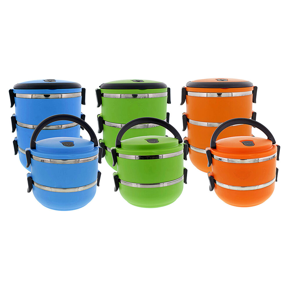 stacking bento lunch box insulated stainless steel food carrier containers ebay. Black Bedroom Furniture Sets. Home Design Ideas