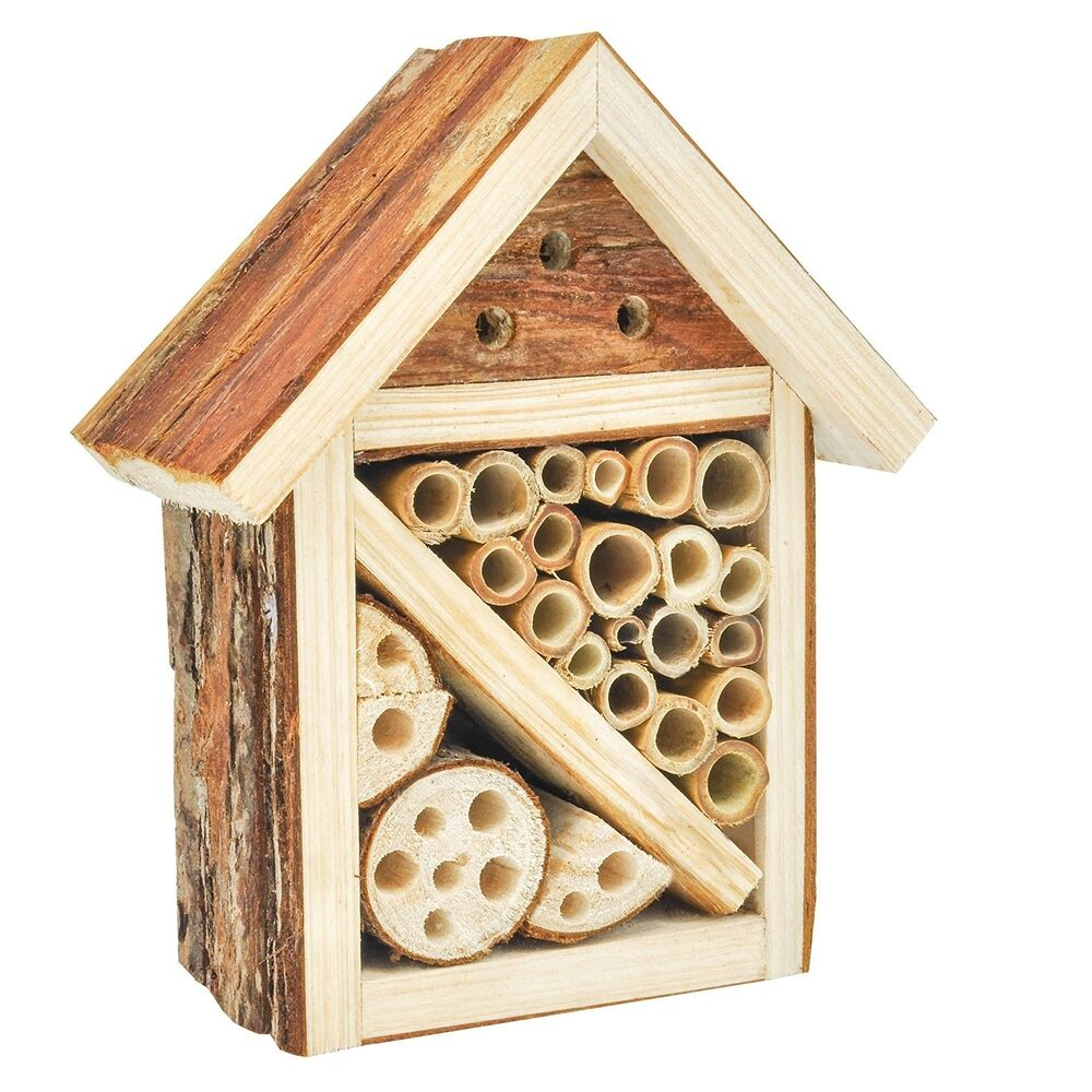 Mason bee house wooden insect hotel lady bug nesting home for Home garden accessories