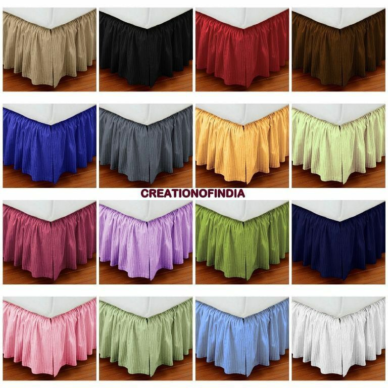 extra drop expanded queen size dust ruffle bed skirt striped 800t c egypt cotton ebay. Black Bedroom Furniture Sets. Home Design Ideas