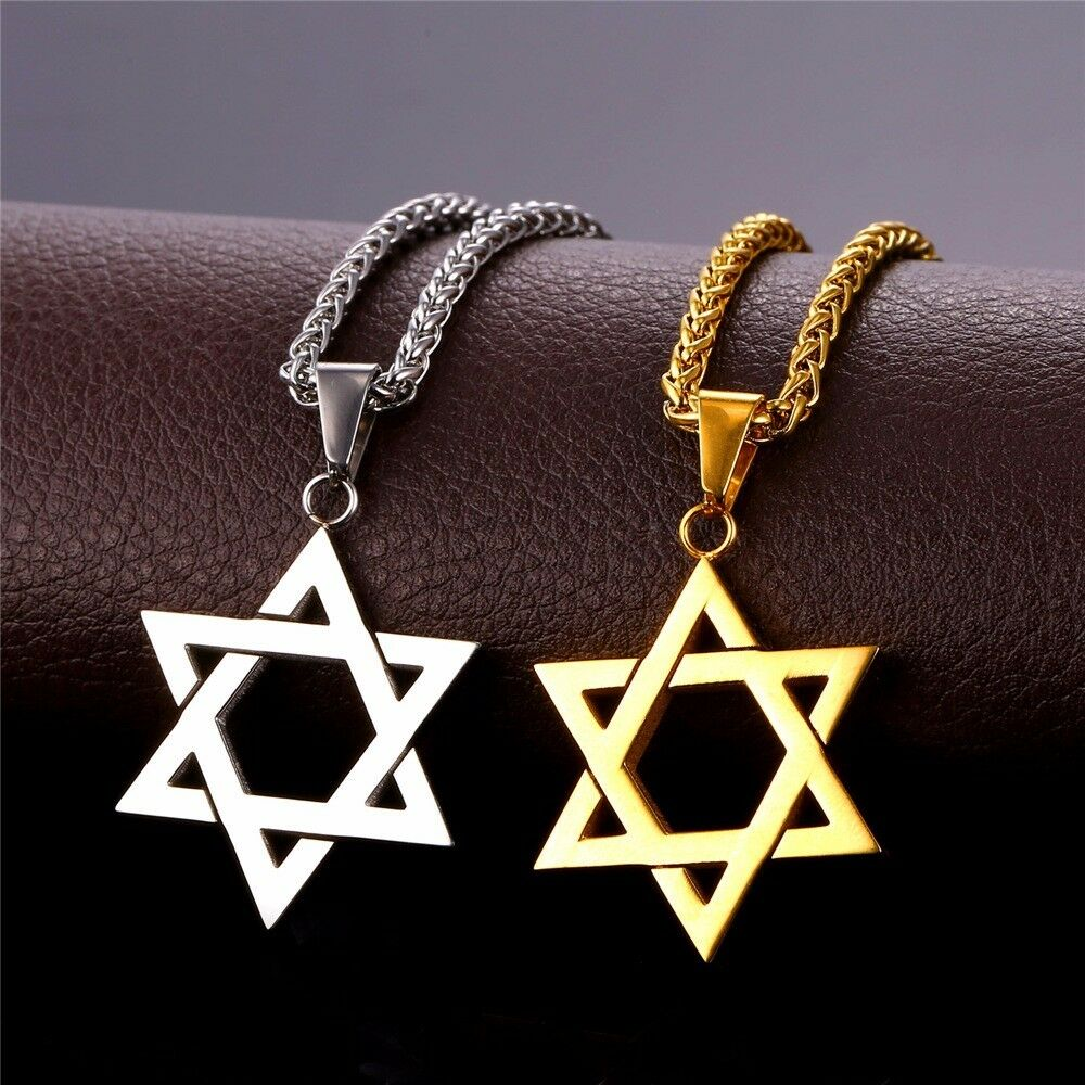 Large Silver Or Gold Star Of David Magen Necklace Jewish
