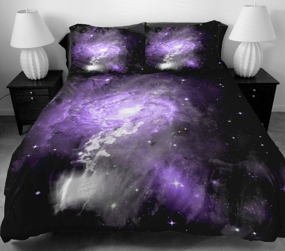 Purple galaxy bedding set outer space quilt cover quilt for Outer space quilt