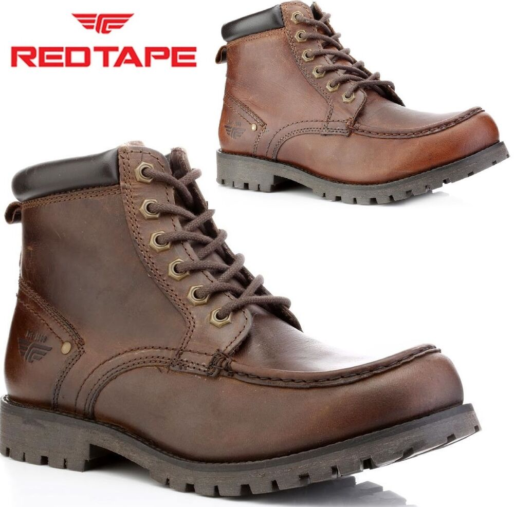 mens red tape leather casual lace up military ankle