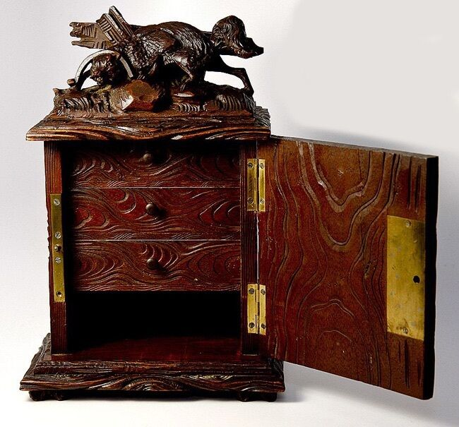 """Antique Black Forest Carved 10"""" Chest, Cabinet, Box"""