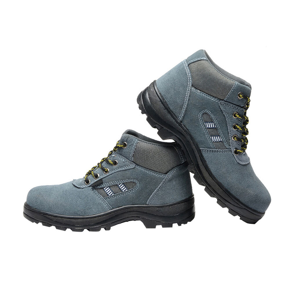 PAS Mens Boys Gray Leather Safety Shoes Breathable ...