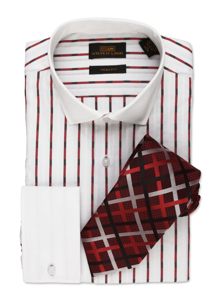 Dress shirt by steven land cutaway collar french cuff red for What is a french cuff shirt