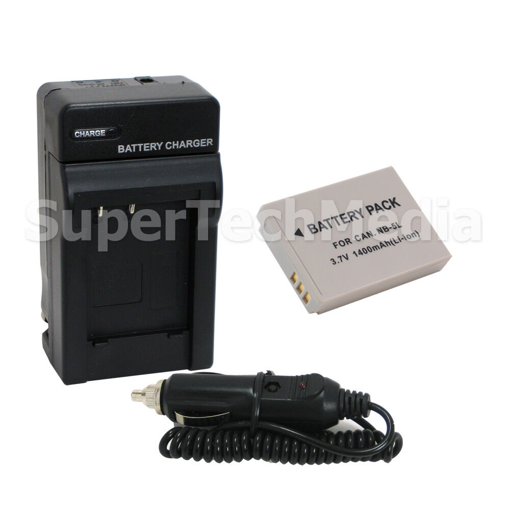 Battery Amp Charger Combo Kit For Canon Nb 5l Nb5l Power
