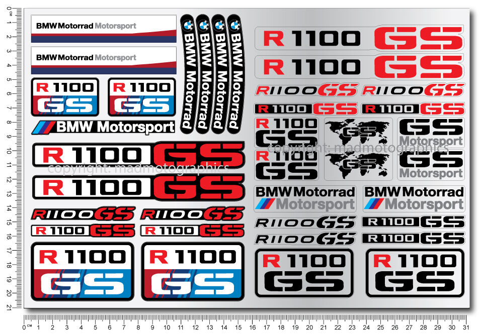 r1100gs motorcycle motorrad decal sticker set 37 quality stickers bmw r1100 gs ebay. Black Bedroom Furniture Sets. Home Design Ideas