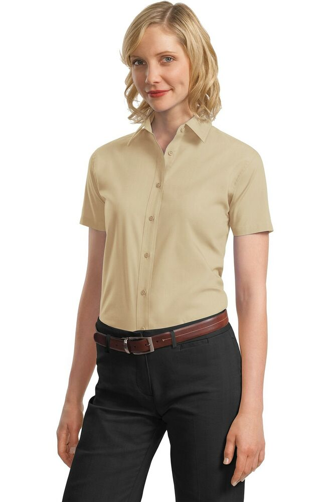 Port authority button shirt l633 women 39 s short sleeve for Women s broadcloth shirts