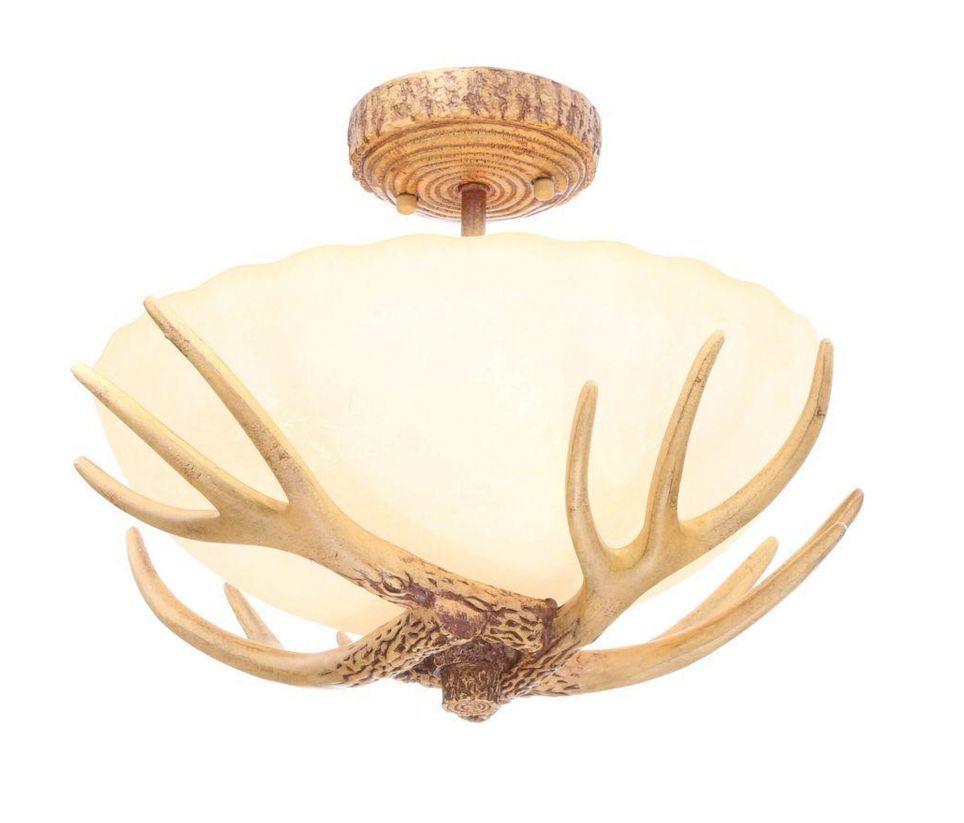 Rustic Ceiling Light Rustic Light Fixture Rustic Wood: Wood Antler 3 Light Semi Flush Mount Ceiling Fixture