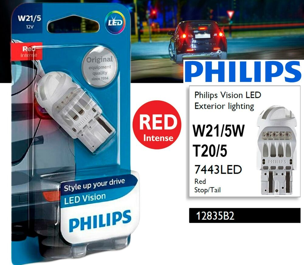 philips vision led t20 5 w21 5w lighting red stoptail. Black Bedroom Furniture Sets. Home Design Ideas