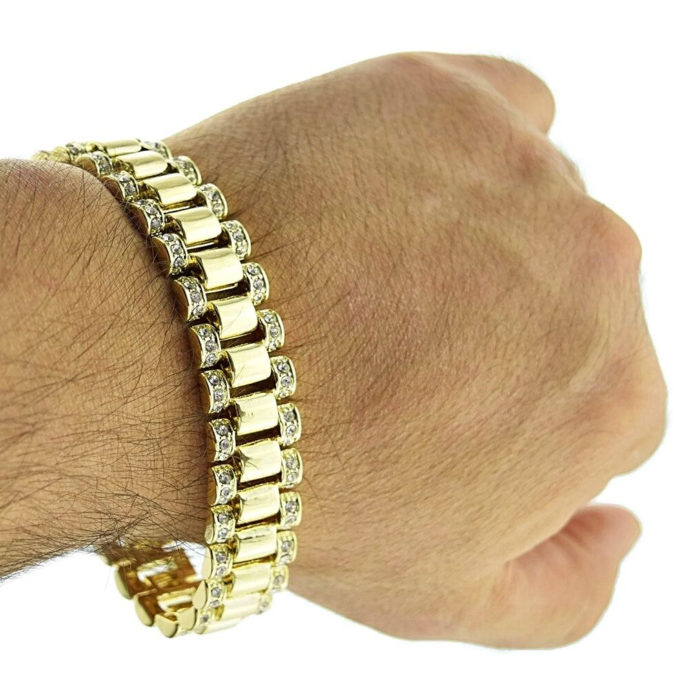 Gold Band Bracelet: Hip Hop Bracelet Watch Band Style Links Iced-out Gold Tone