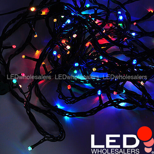 linkable 33 ft color changing 100 led christmas light string with green wire ebay. Black Bedroom Furniture Sets. Home Design Ideas