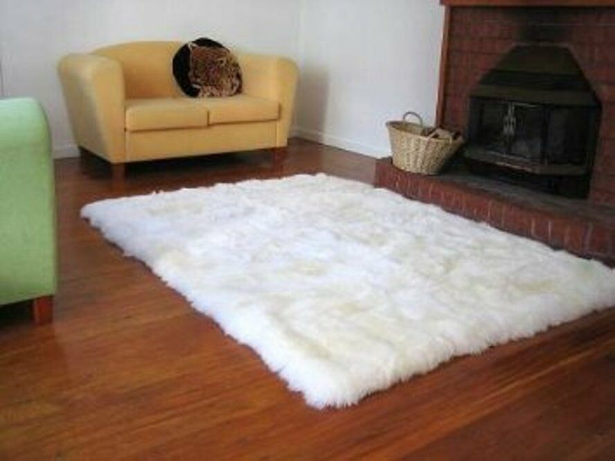 Faux Fur Area Rug Shaggy Rug White Faux Sheepskin Ebay