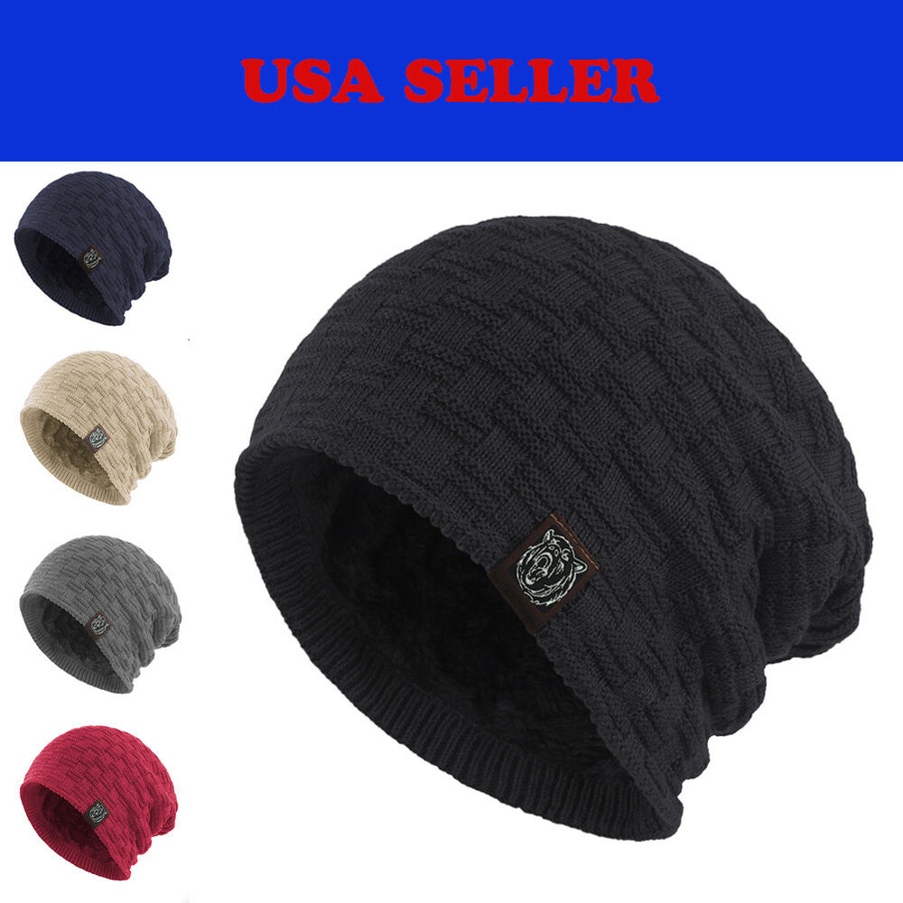 f9c0f917d4e43 Details about Winter Baggy Slouch Knit Waffle Beanie Fur Lined Stocking  Skull Cap Ski Hat