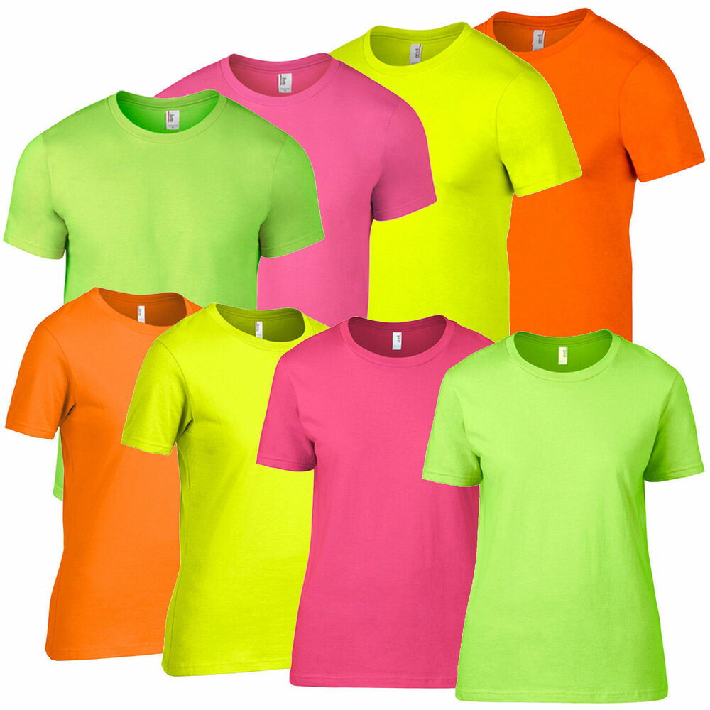 Neon pink green orange yellow mens ladies for Bright green t shirt dress