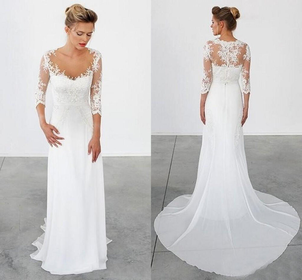 Simple Wedding Dresses 3/4 Long Sleeves Vintage Sheath