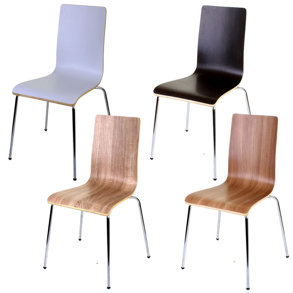 Chairs For The Kitchen: 4 X WOODEN DINING CHAIRS STACKING CHAIR HOME OFFICE