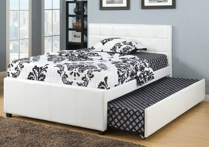 New White Bycast Leather Full Platform Bed With Twin