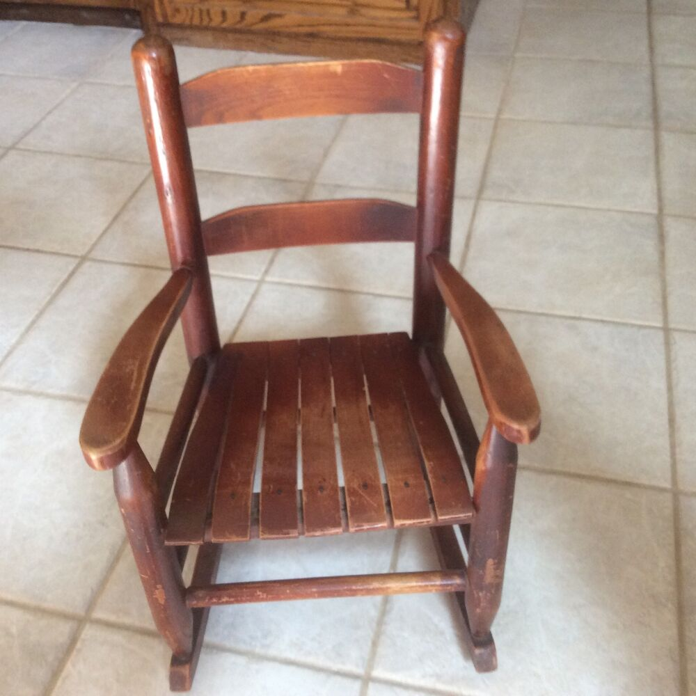 Vintage Kid S Toddler Child Wooden Rocking Chair Natural