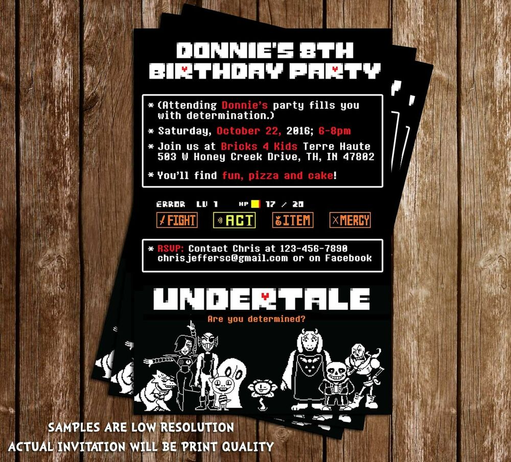 Undertale - Video Game - Birthday Invitations - 15 Printed ...