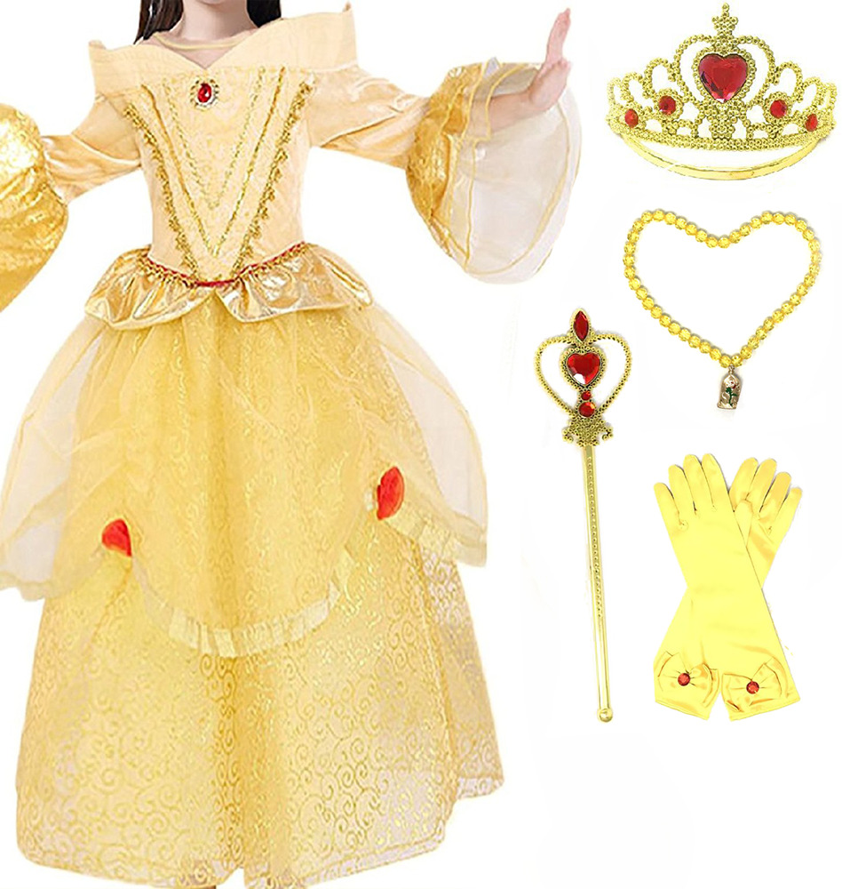 Princess Belle Deluxe Yellow Party Dress Costume | eBay