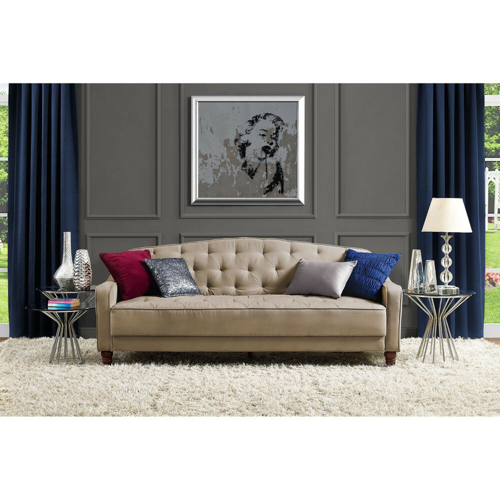 Novogratz sofa vintage tufted sleeper ii home living room for Living room ideas 2 couches