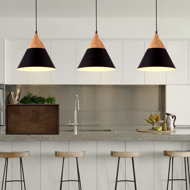 lights wood pendant light kitchen lamp black chandelier lighting
