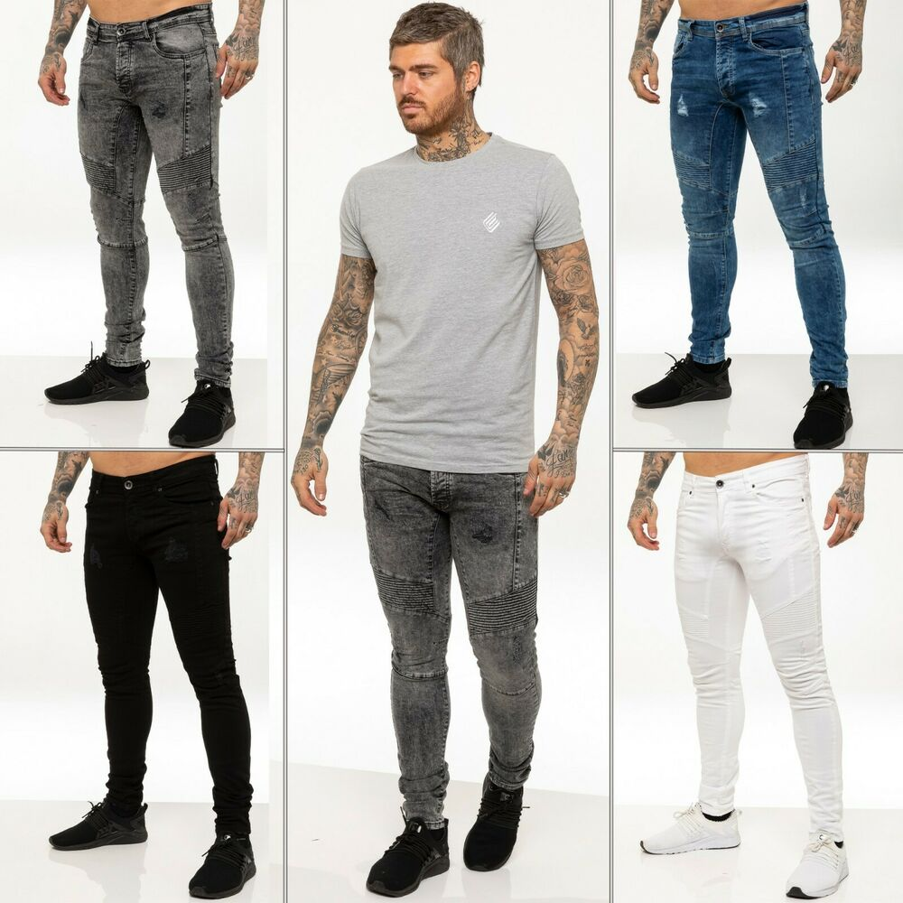 76ade5c1d604 Details about New Enzo Mens Super Skinny Fit Ripped Jeans Stretch Biker  Distressed Denim Pants