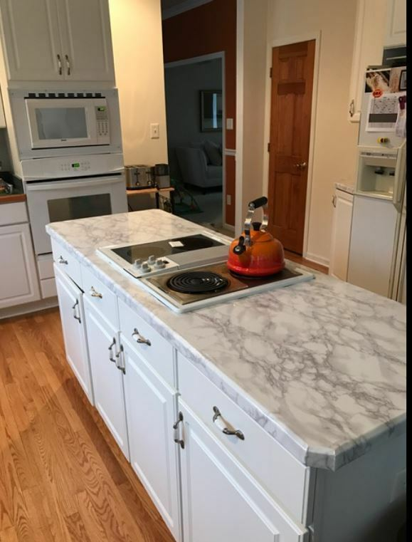 Peel And Stick Faux Granite Countertops : Peel n stick countertop transformation faux fake marble