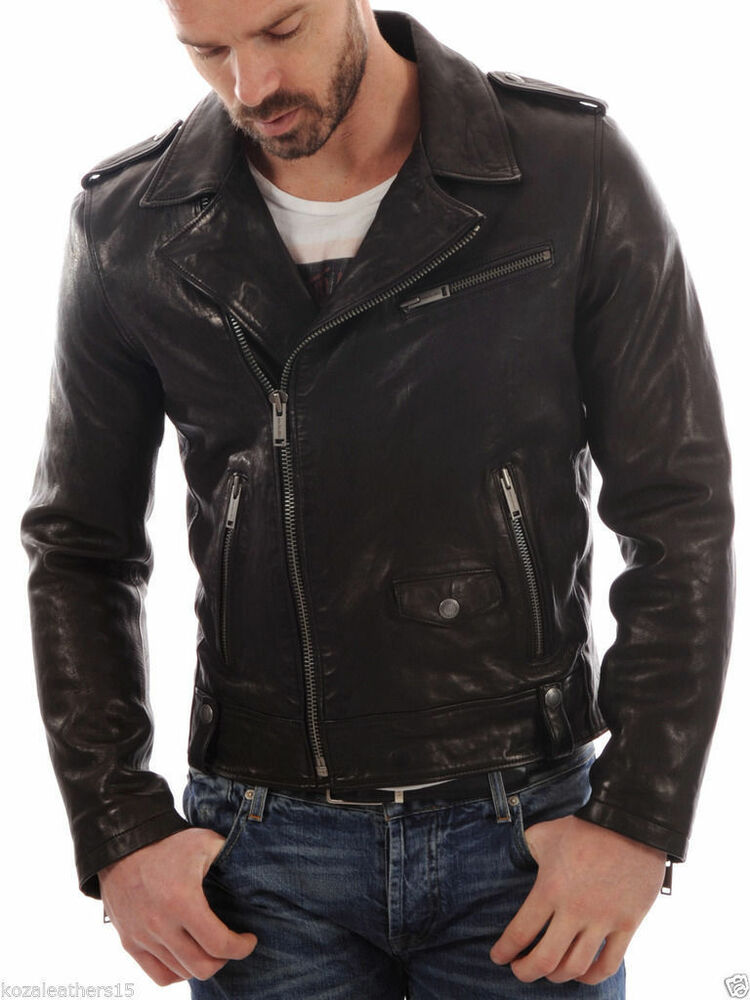 Menu0026#39;s Genuine Lambskin Leather Motorcycle Jacket Slim Fit Biker Jacket | EBay