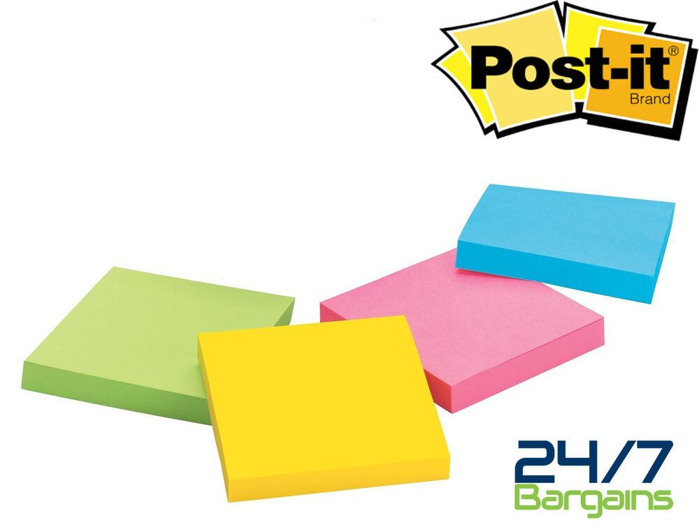 CHEAP 3M POST IT NOTES STICKY MEMO PADS 76mm X 76mm IN 100 SHEET PADS-4 PADS X 1 | eBay