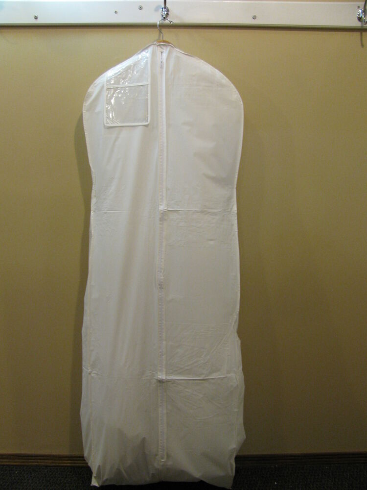 GARMENT BAG White Vinyl For Wedding Gown With Train Prom Formal Storage Full Zip